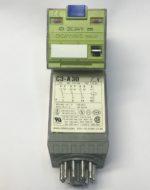 Comat C3-A30/DC24V Relais de puissance ComatReleco, boîtier en matiere synthetique, vert, materiau de contact AgNi 10 A 250 V AC, pour des circuits electriques AC et DC ≤ 10 mA 10 V, pour socle CS-11 ou C11 A, touche pour commande manuelle, arrêtable, indication de position mecanique, T -40...60 °C execution du raccordement electrique raccordement a broches